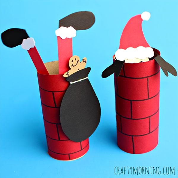 Come creare un lavoretto su Babbo Natale con rotoli di carta