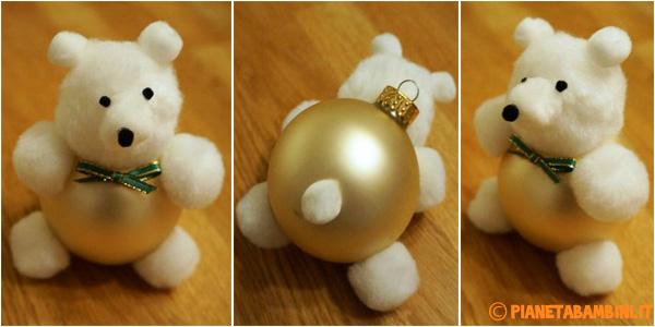 Come creare un orsetto natalizio con una pallina e della lana infeltrita