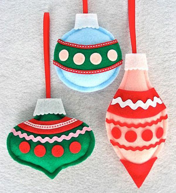 Modello di palline di Natale in feltro fai da te n.03
