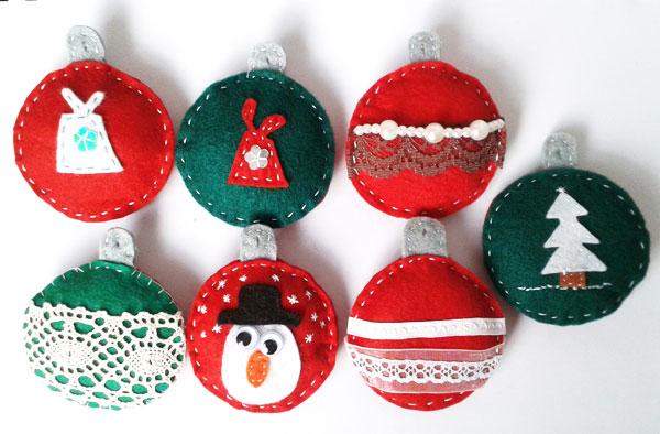 Modello di palline di Natale in feltro fai da te n.14