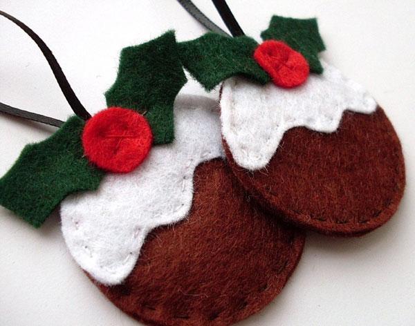 Modello di palline di Natale in feltro fai da te n.15