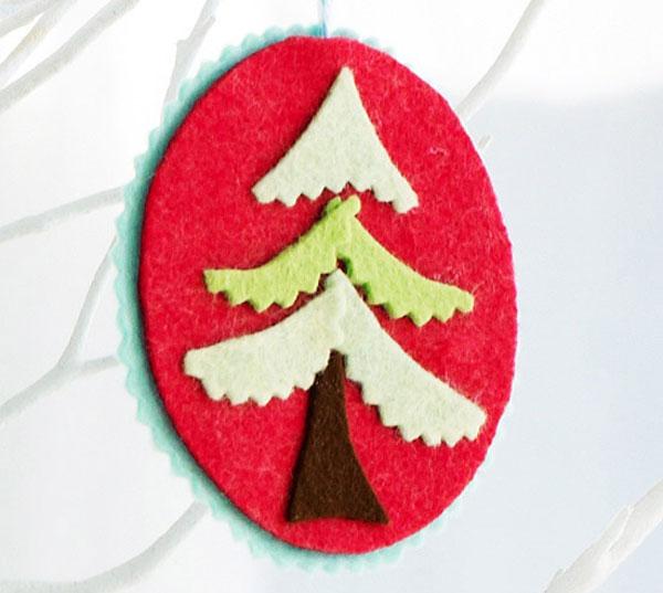 Modello di palline di Natale in feltro fai da te n.22