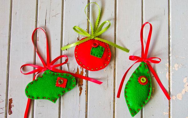 Modello di palline di Natale in feltro fai da te n.27