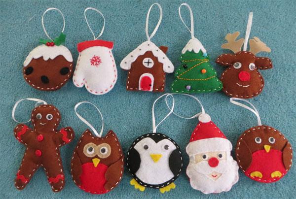 Modello di palline di Natale in feltro fai da te n.31