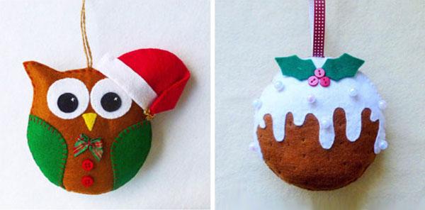 Modello di palline di Natale in feltro fai da te n.33