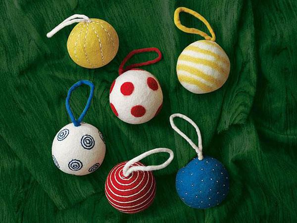 Modello di palline di Natale in feltro fai da te n.38