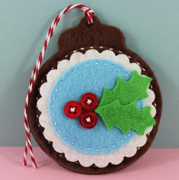 Modello di palline di Natale in feltro fai da te n.42