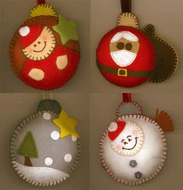 Modello di palline di Natale in feltro fai da te n.45