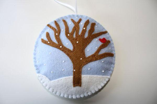 Modello di palline di Natale in feltro fai da te n.47