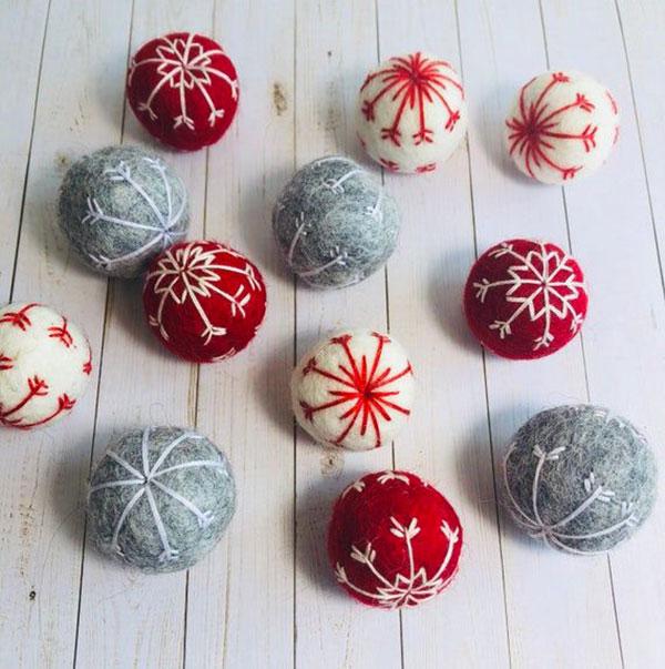 Modello di palline di Natale in feltro fai da te n.53