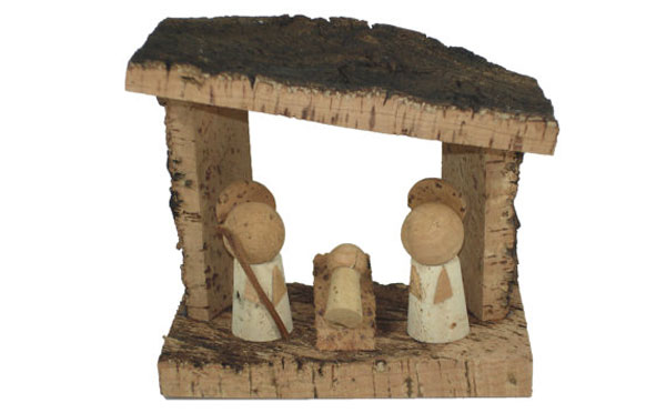 Modello di presepe con tappi di sughero n.10