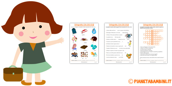 Schede didattiche su CIA CIO CIU per bambini della scuola primaria
