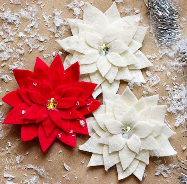 Modello di stella di Natale in feltro fai da te n.04