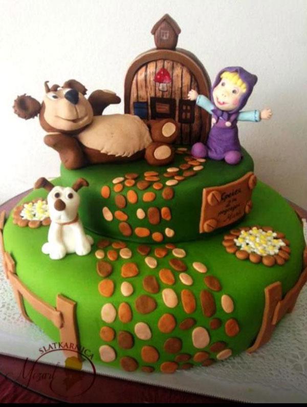 Immagine della torta di Masha e Orso n.03