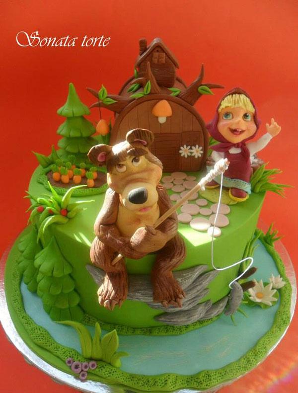 Immagine della torta di Masha e Orso n.19