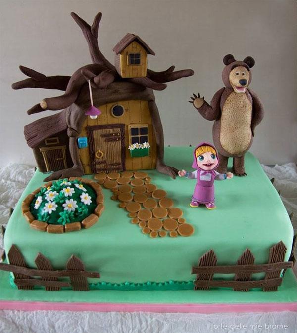 Immagine della torta di Masha e Orso n.87