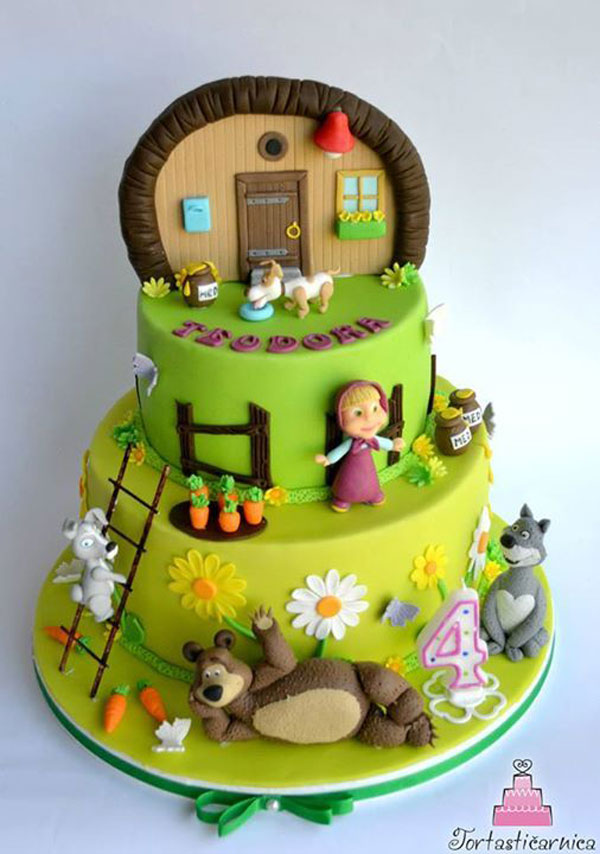 Immagine della torta di Masha e Orso n.98