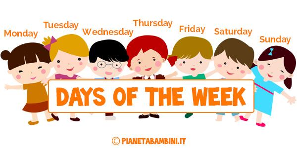 Schede didattiche sui giorni della settimana in inglese per bambini della scuola primaria