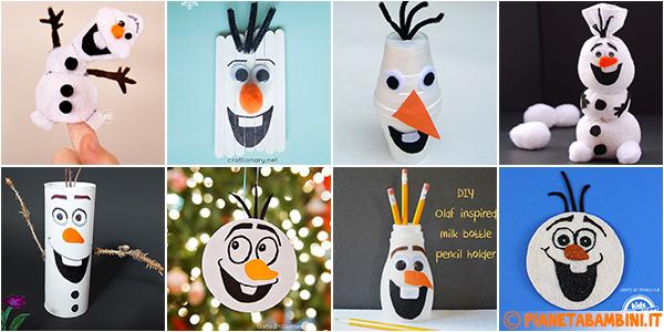 Lavoretti su Olaf creati con diversi materiali