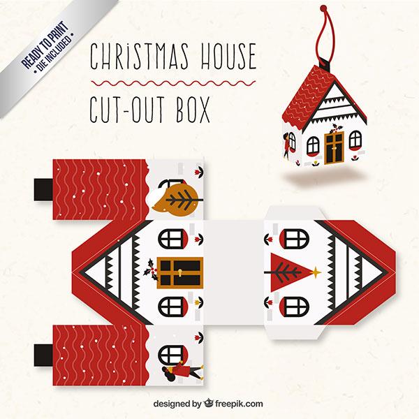 Scatolina regalo natalizia fai da te a forma di casa n.01