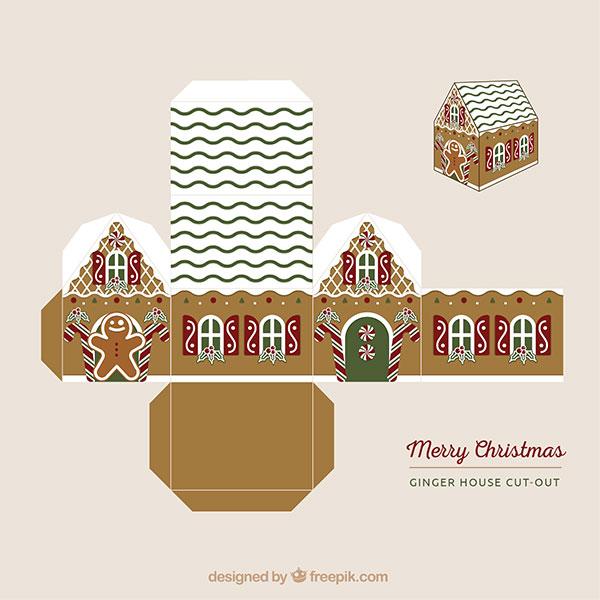 Scatolina regalo natalizia fai da te a forma di casa n.03