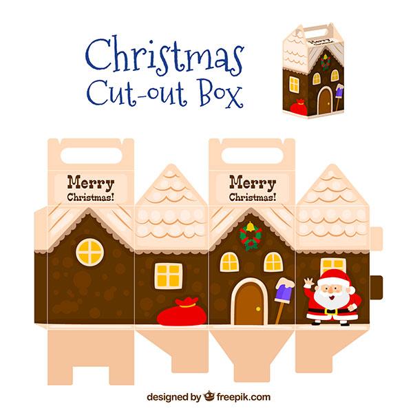 Scatolina regalo natalizia fai da te con maniglia n.01