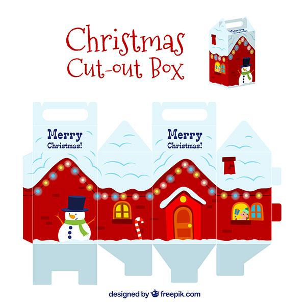 Scatolina regalo natalizia fai da te con maniglia n.06