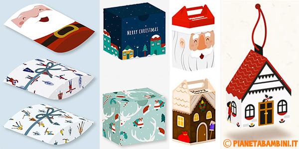 Scatoline regalo natalizie fai da te da stampare gratis e costruire