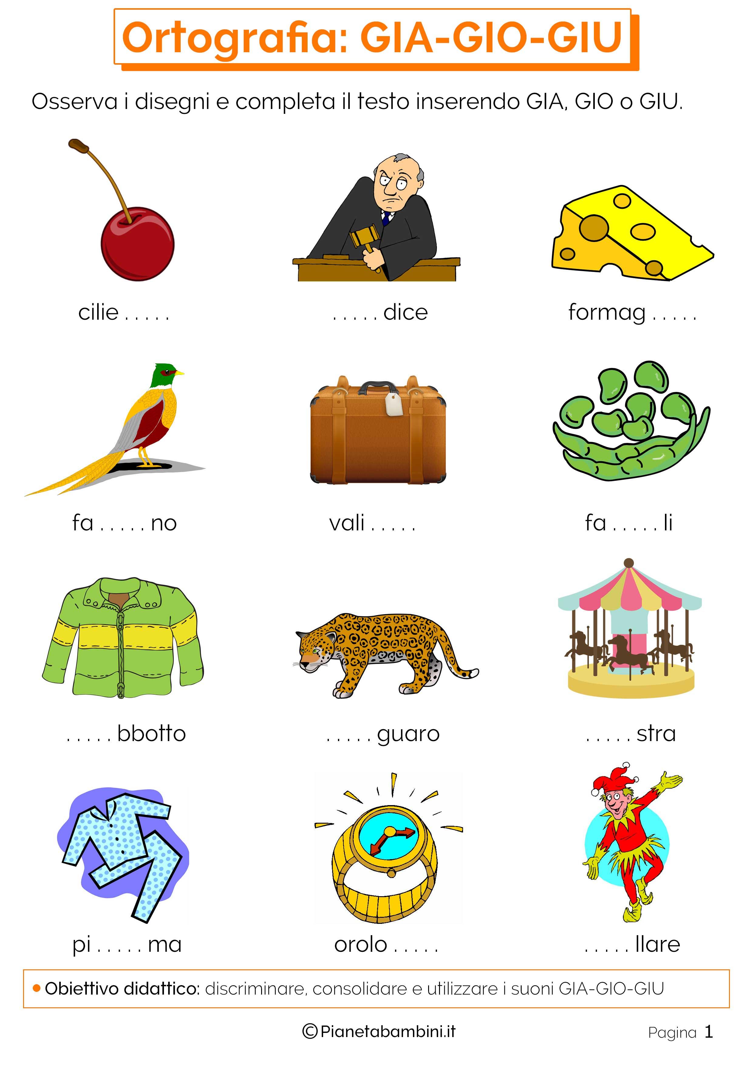 Giochi per bambini autistici da stampare for Parole con gia gio giu