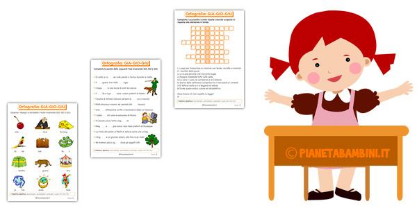 Schede didattiche su GIA GIO GIU per bambini della scuola primaria