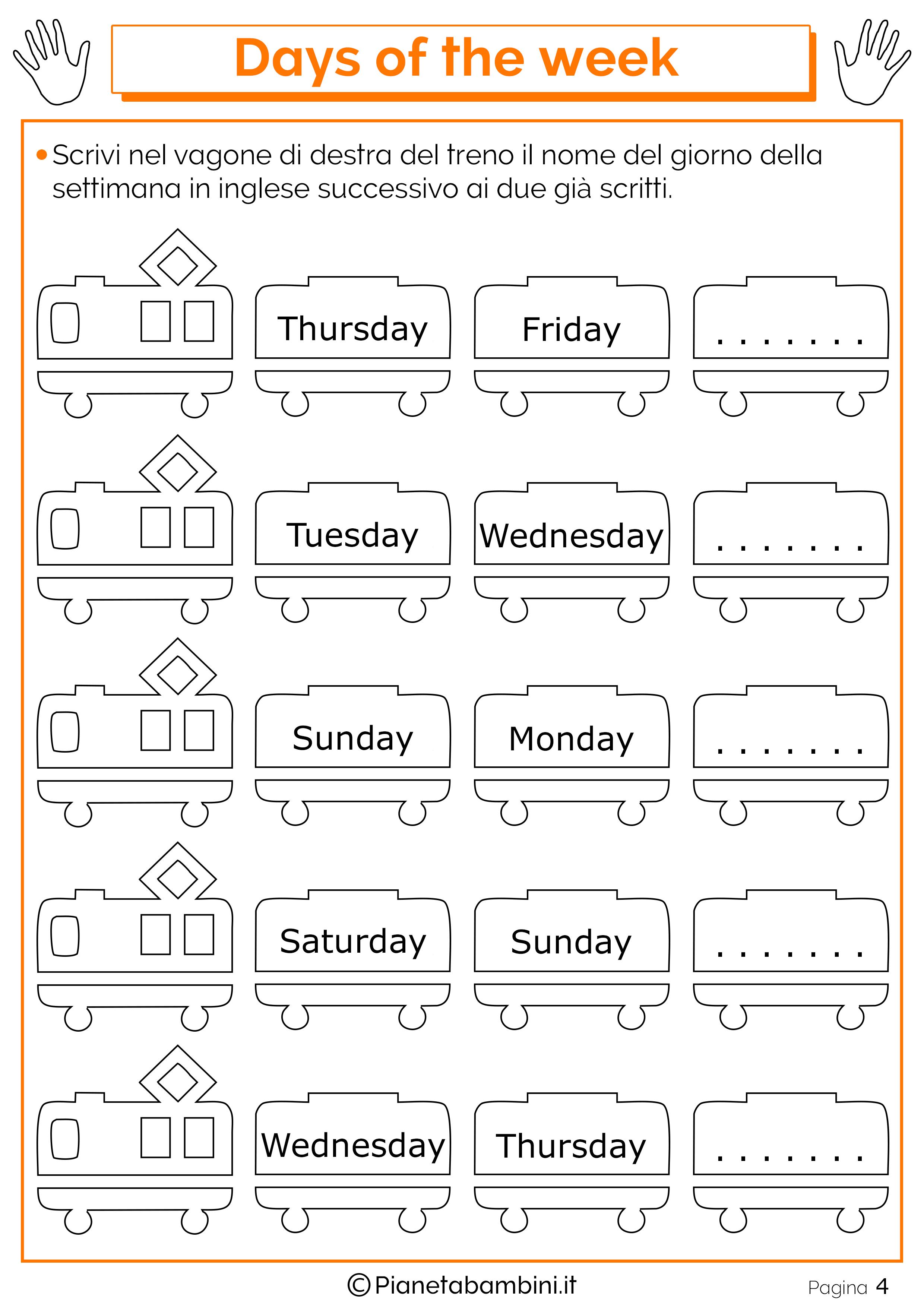 Eccezionale Giorni della Settimana in Inglese per Bambini: Schede Didattiche  NK59