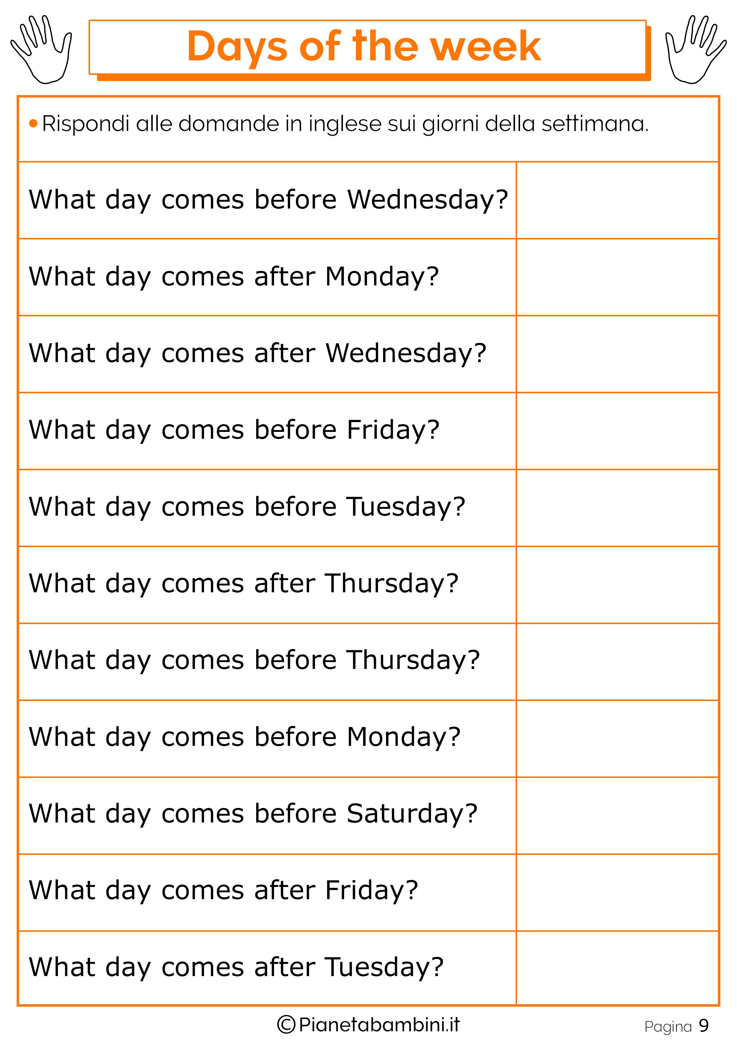 giorni della settimana in inglese per bambini schede