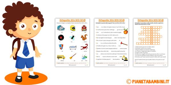 Schede didattiche su SCA-SCO-SCU per bambini della scuola primaria