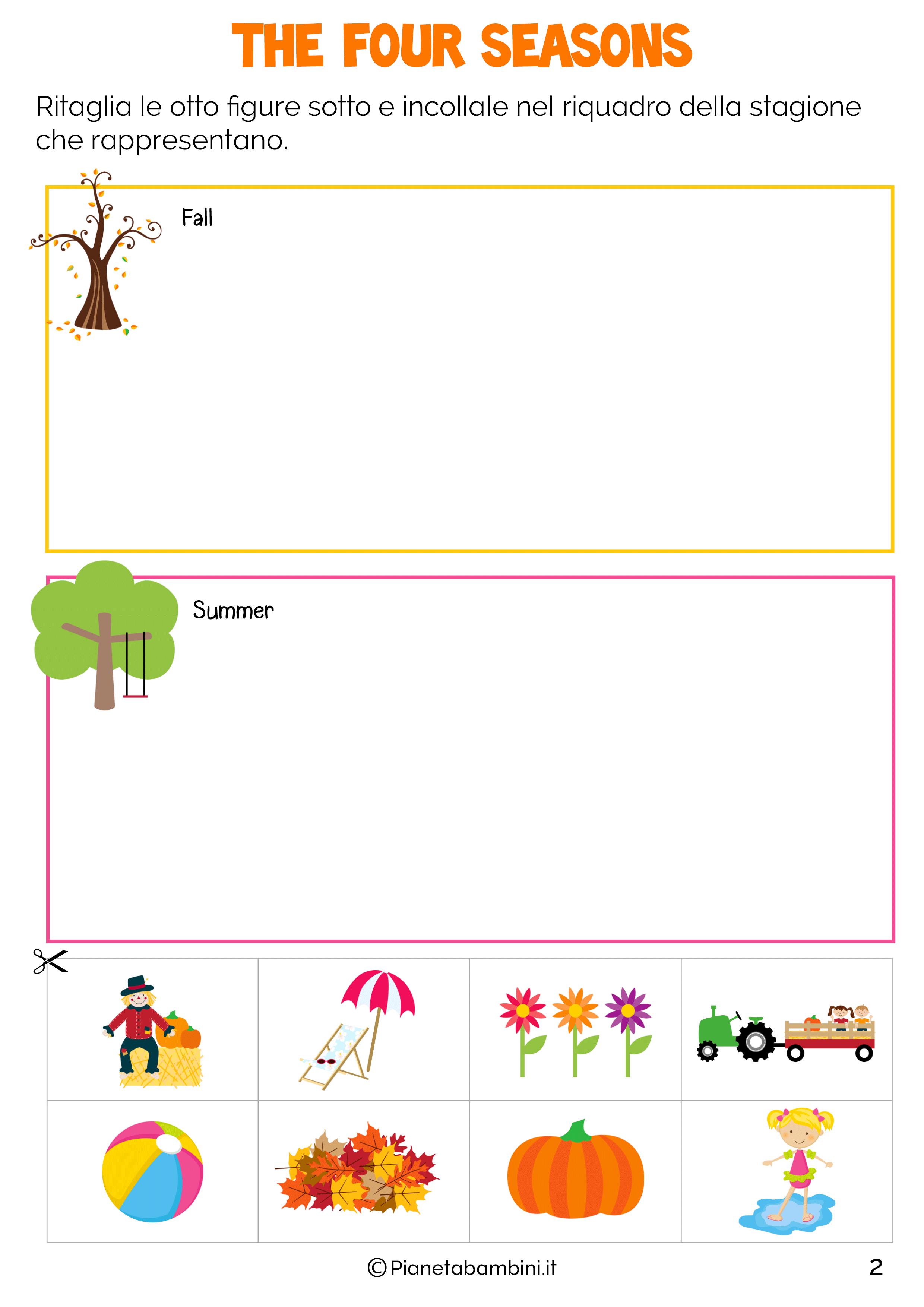 Top Le Stagioni in Inglese per Bambini: Schede Didattiche da Stampare  KW75