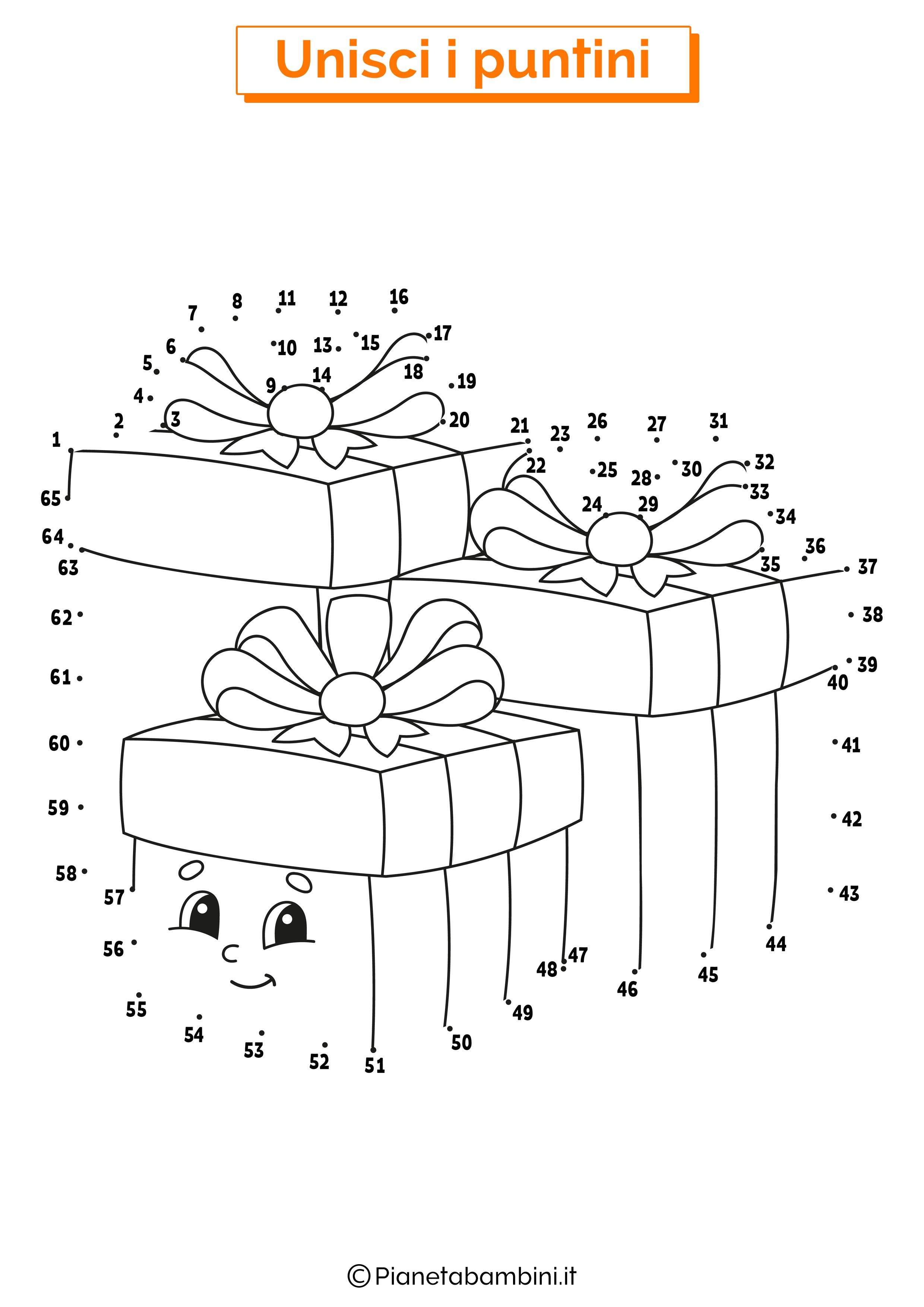 Unisci i puntini pacchi regali 1-65