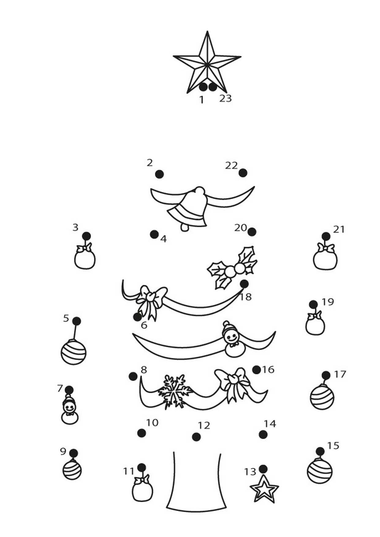 Unisci i puntini albero di Natale 1-23