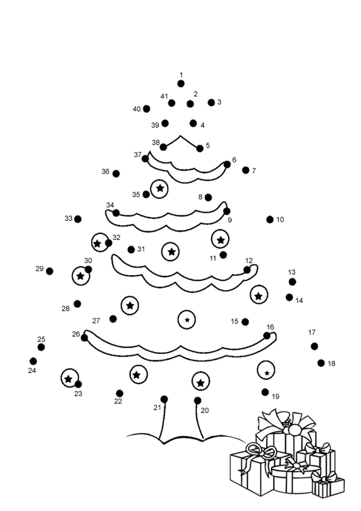 Unisci i puntini albero di Natale 1-40