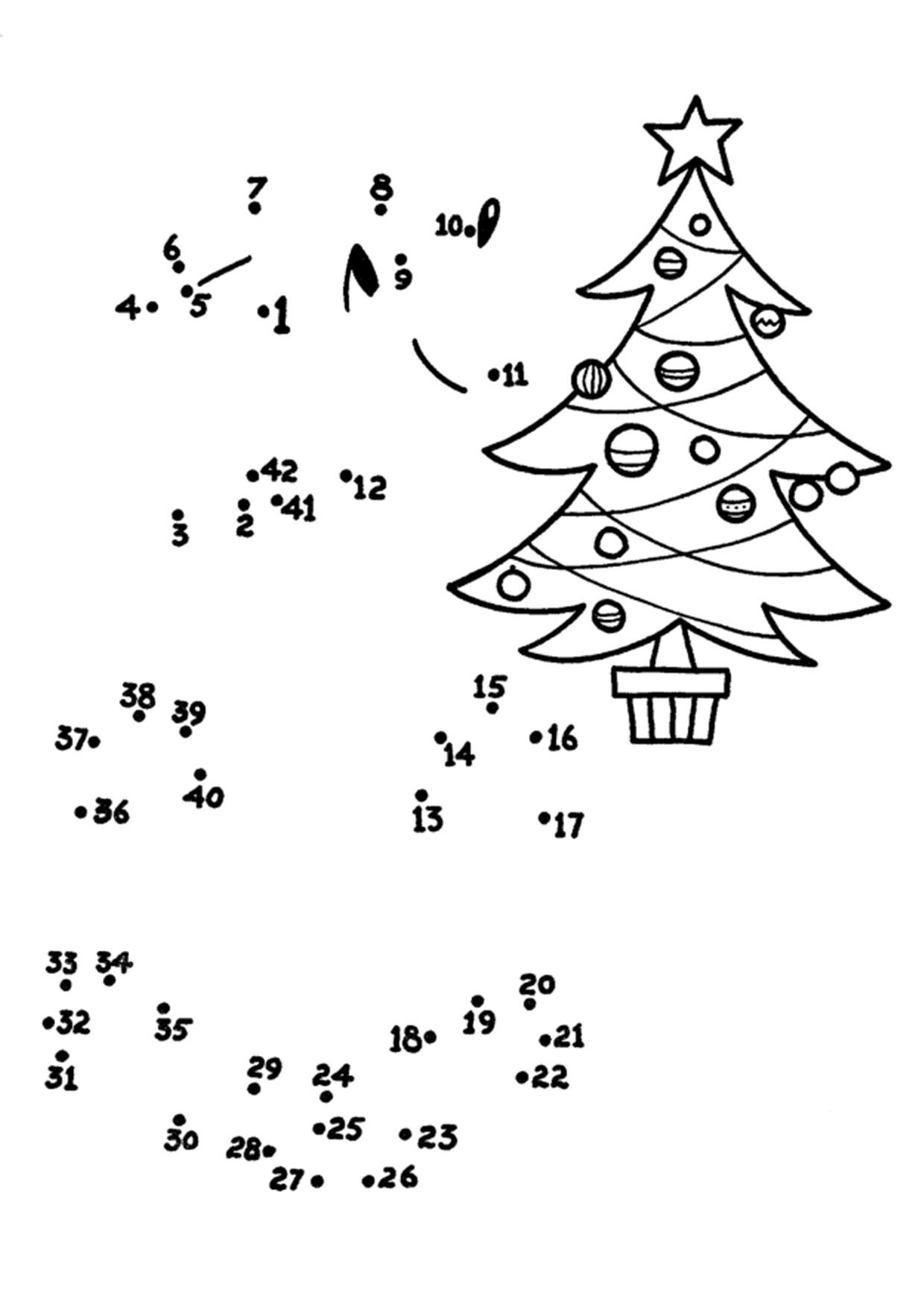 Unisci i puntini albero di Natale 1-42