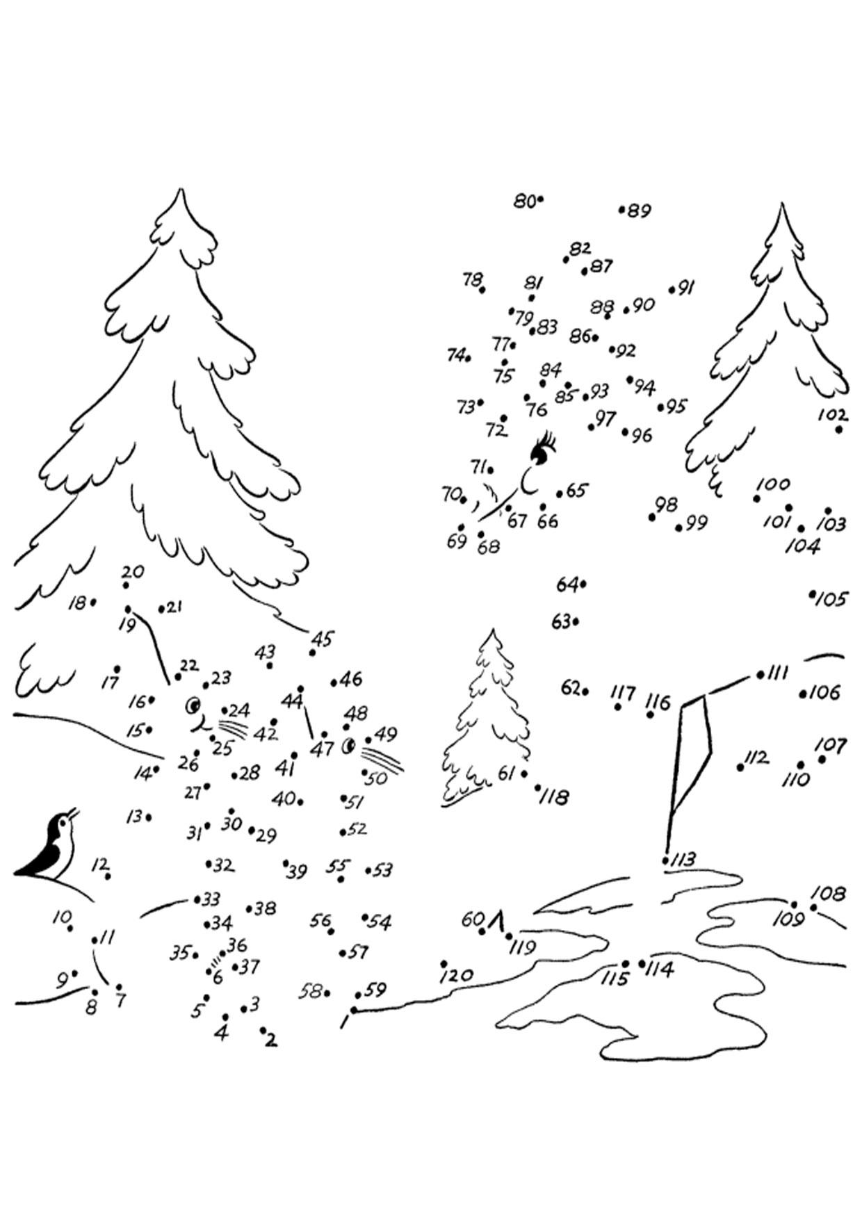 Unisci i puntini paesaggio natalizio 1-120