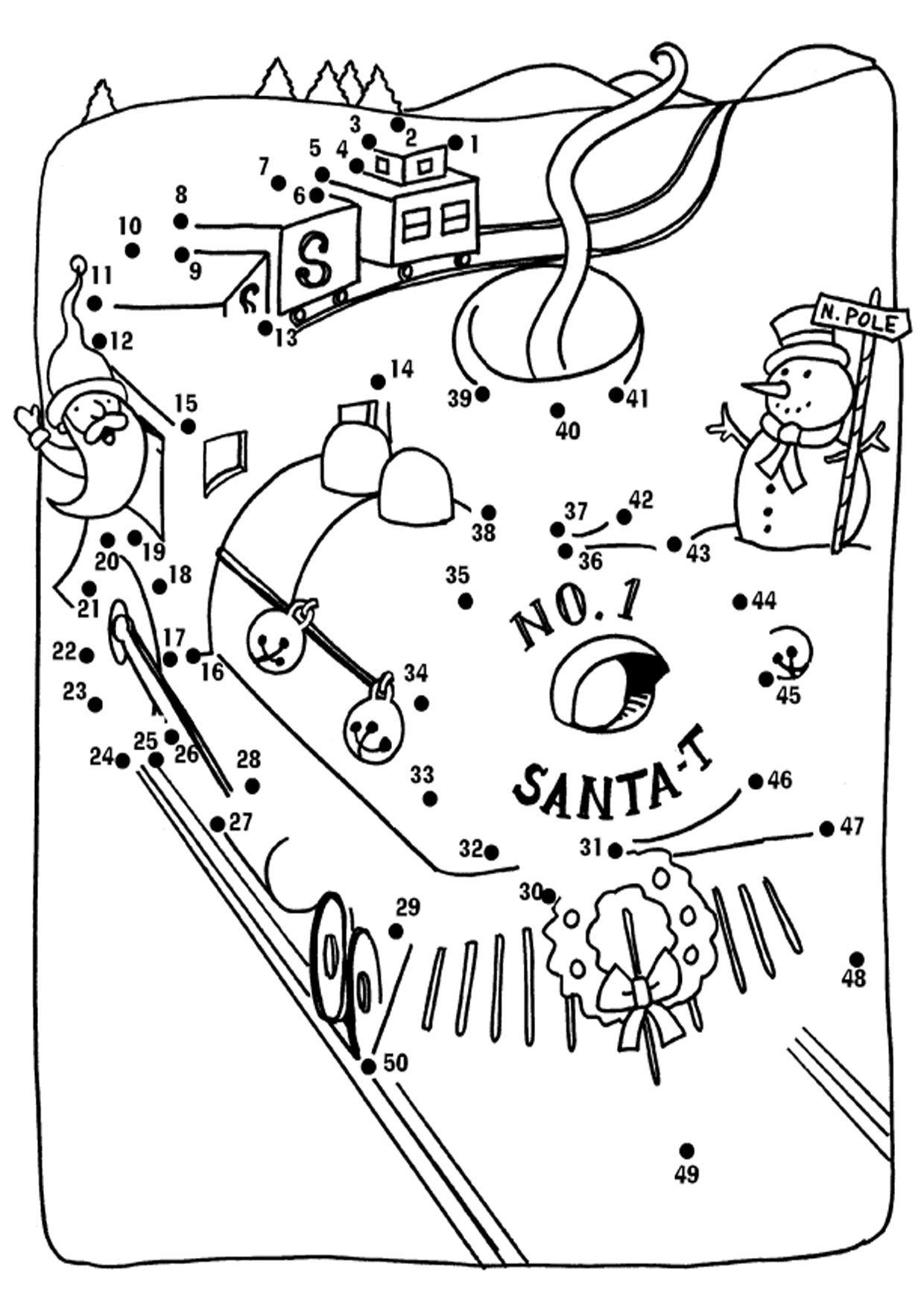 Unisci i puntini Babbo Natale 1-50