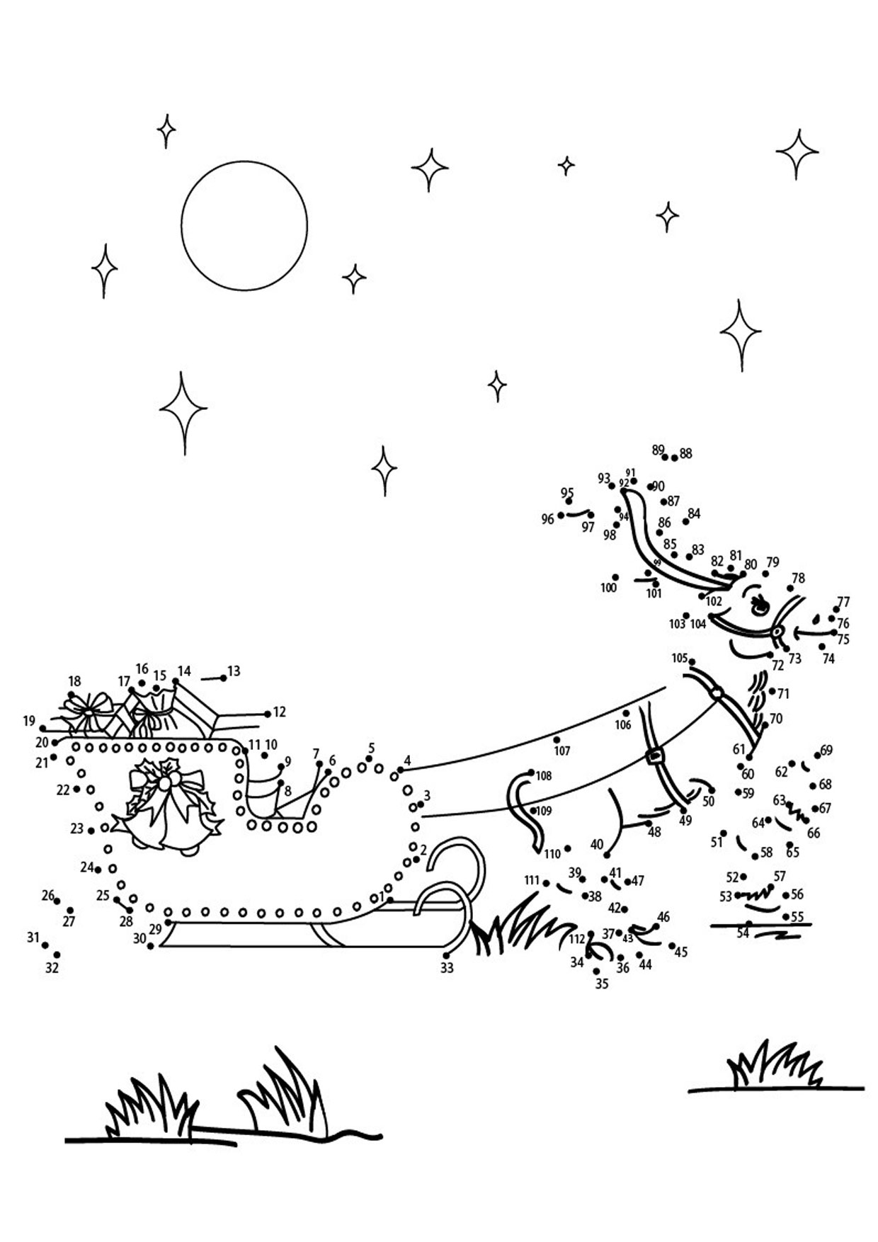 Unisci i puntini slitta di Babbo Natale 1-112