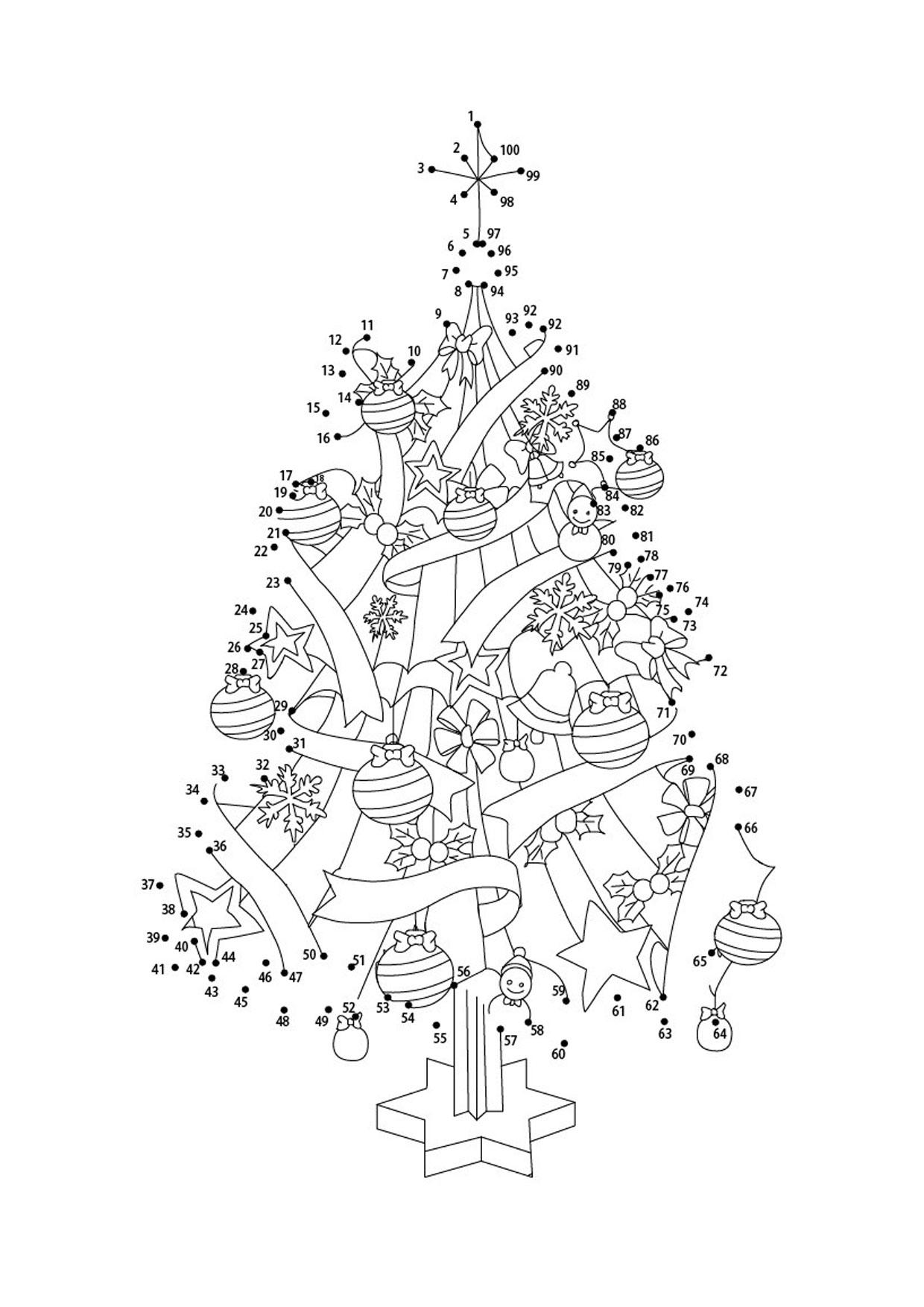 Unisci i puntini albero di Natale 1-100