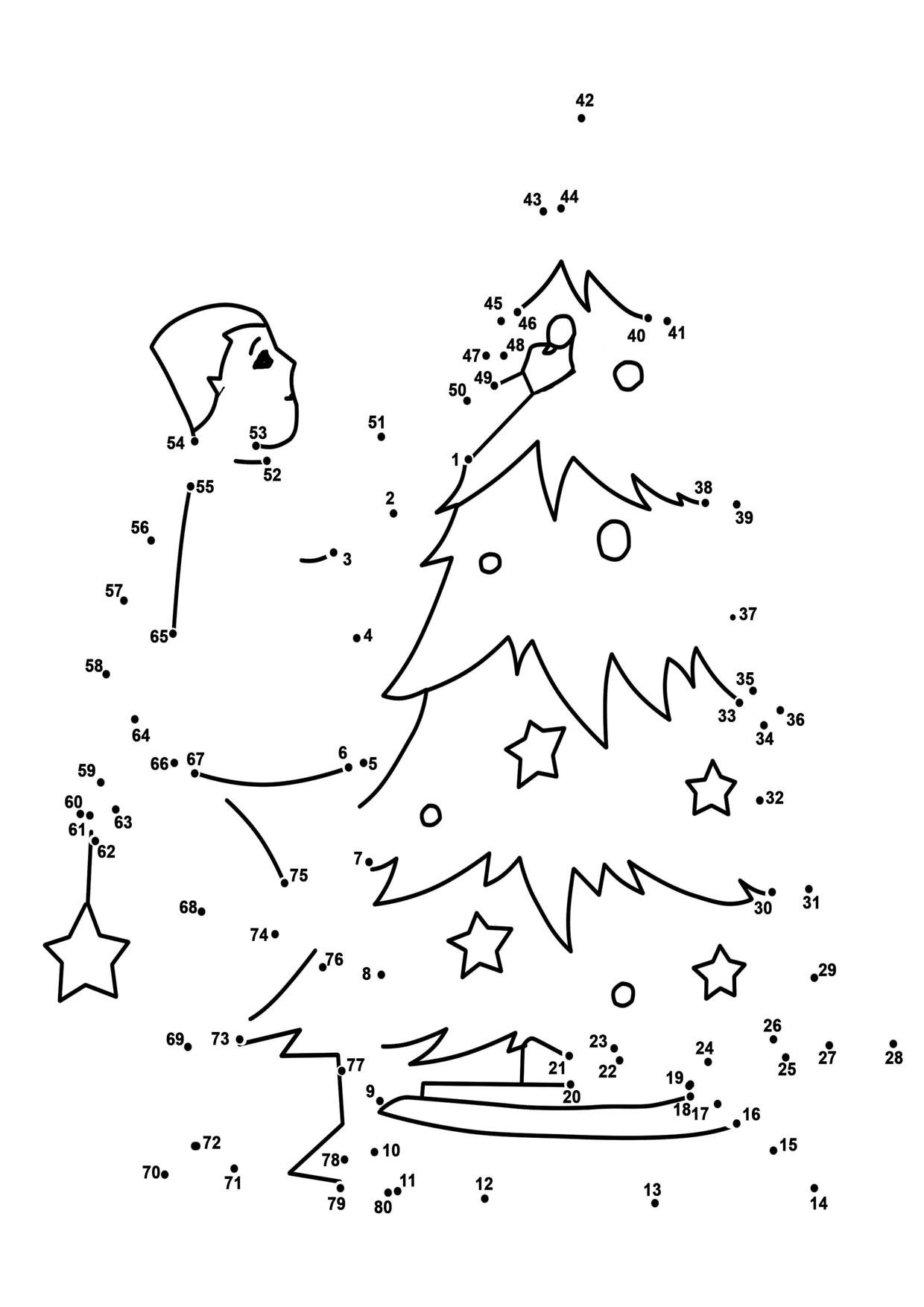 Unisci i puntini albero di Natale 1-80