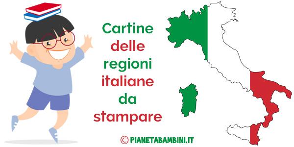 Cartine delle regioni italiane in versione muta fisica e politica