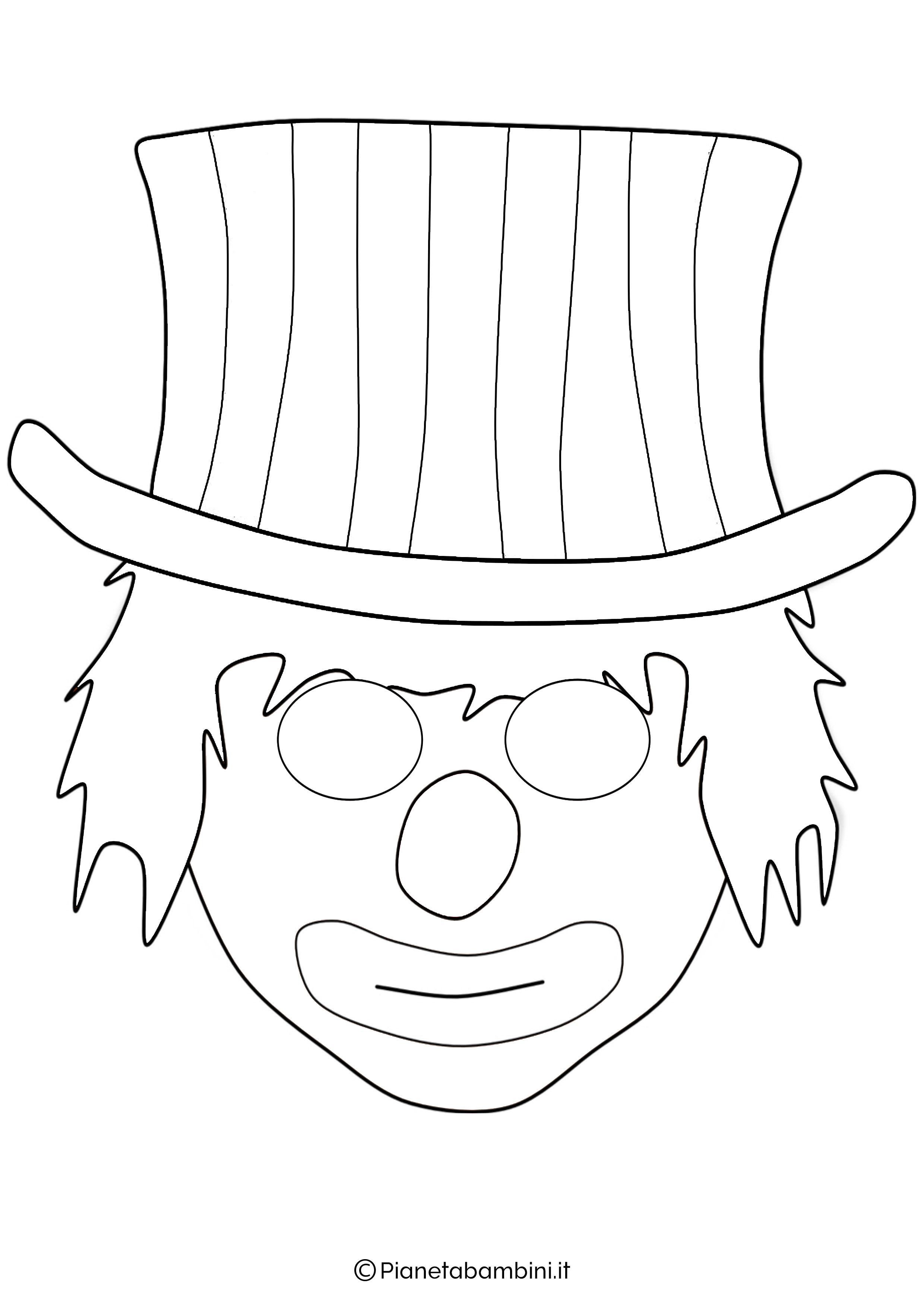 Maschere da pagliacci da stampare e colorare for Immagini di clown da colorare