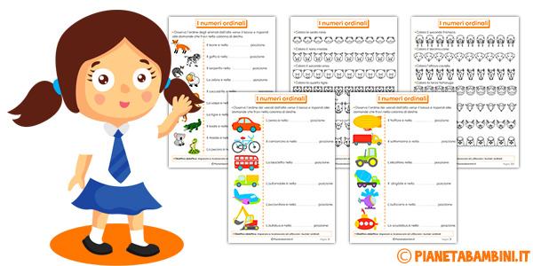 Schede didattiche sui numeri ordinali per bambini da stampare gratis