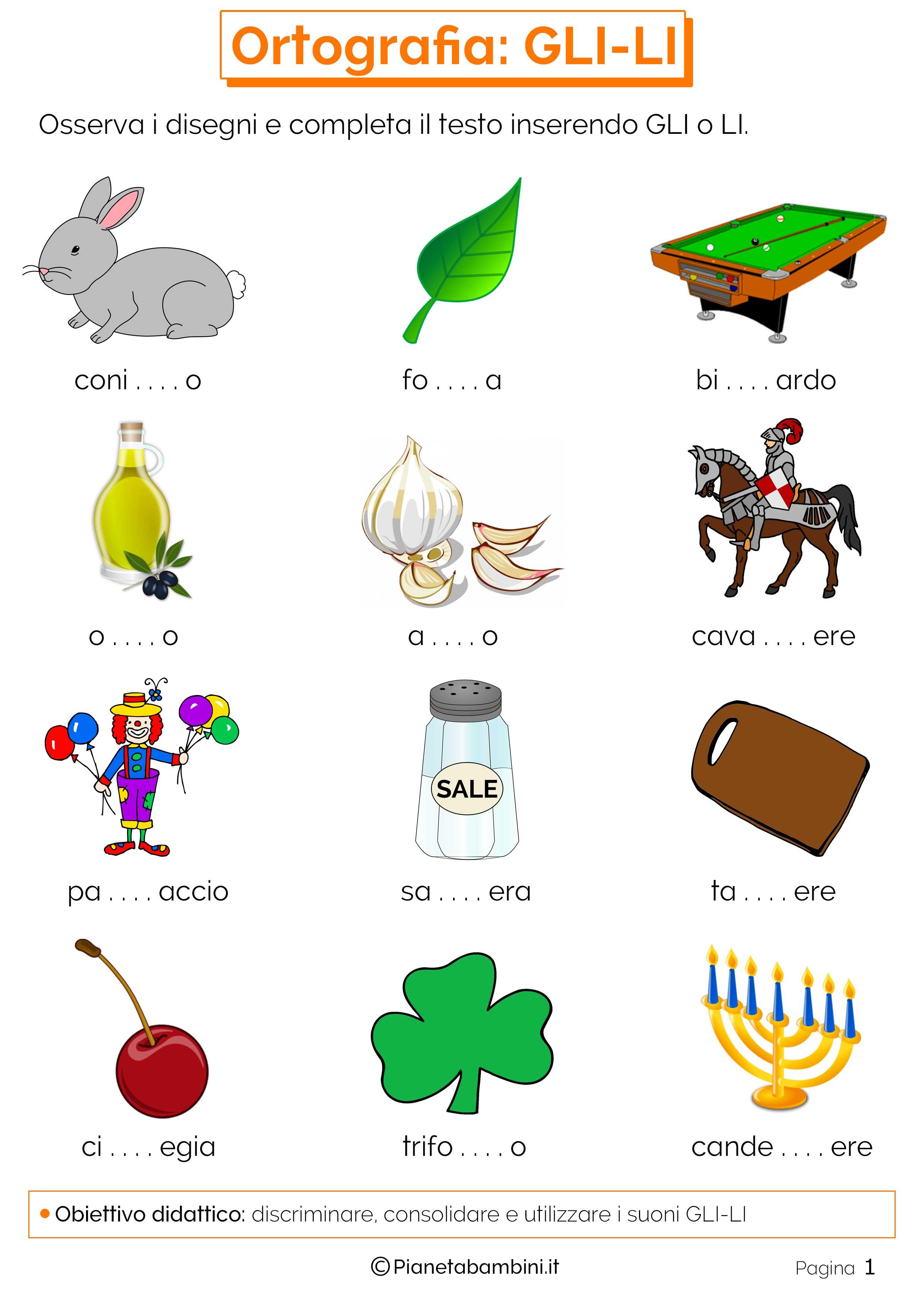 Schede didattiche su gli li da stampare for Parole con mp per bambini