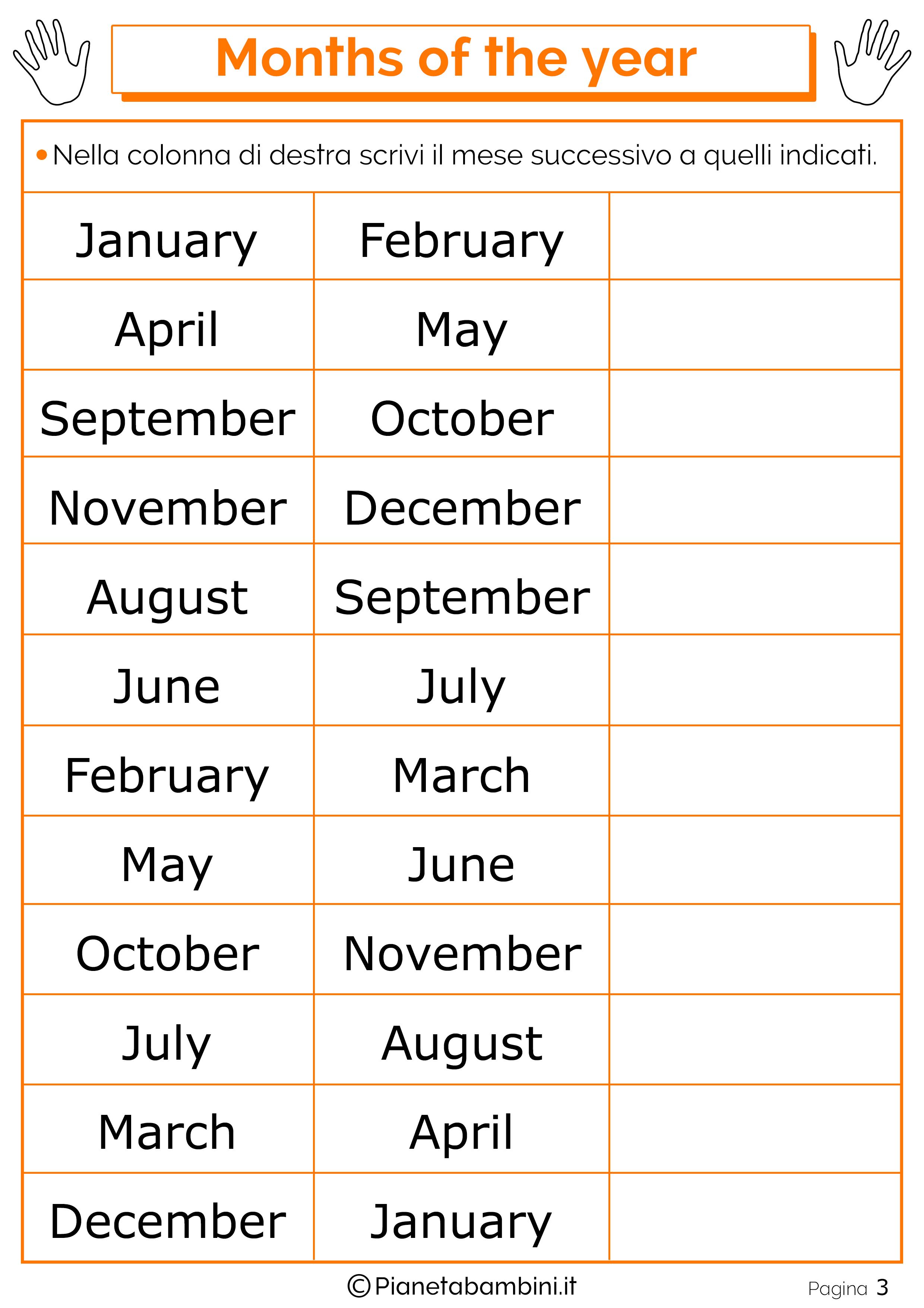 Esercizio sui mesi in inglese 03