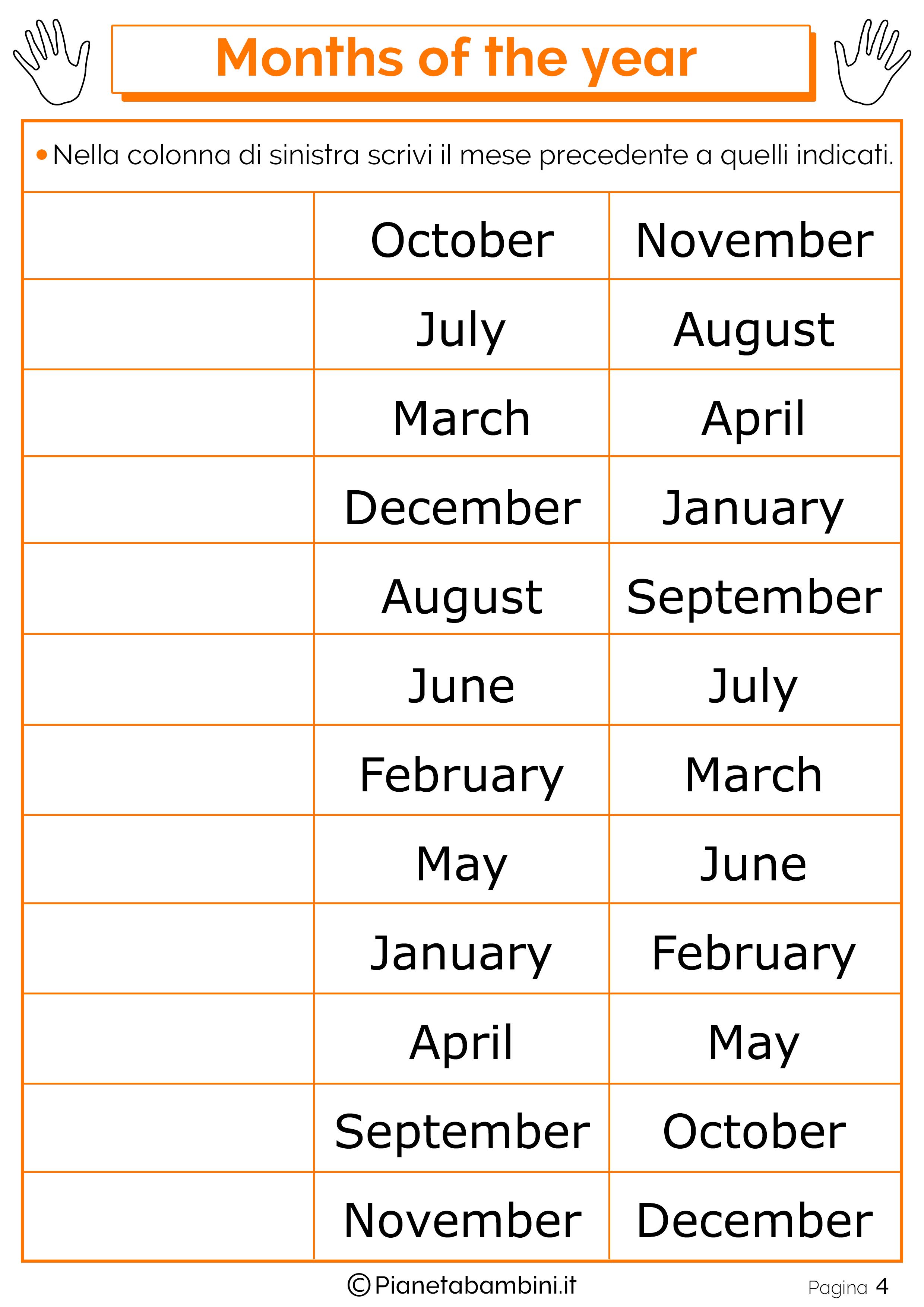 Esercizio sui mesi in inglese 04
