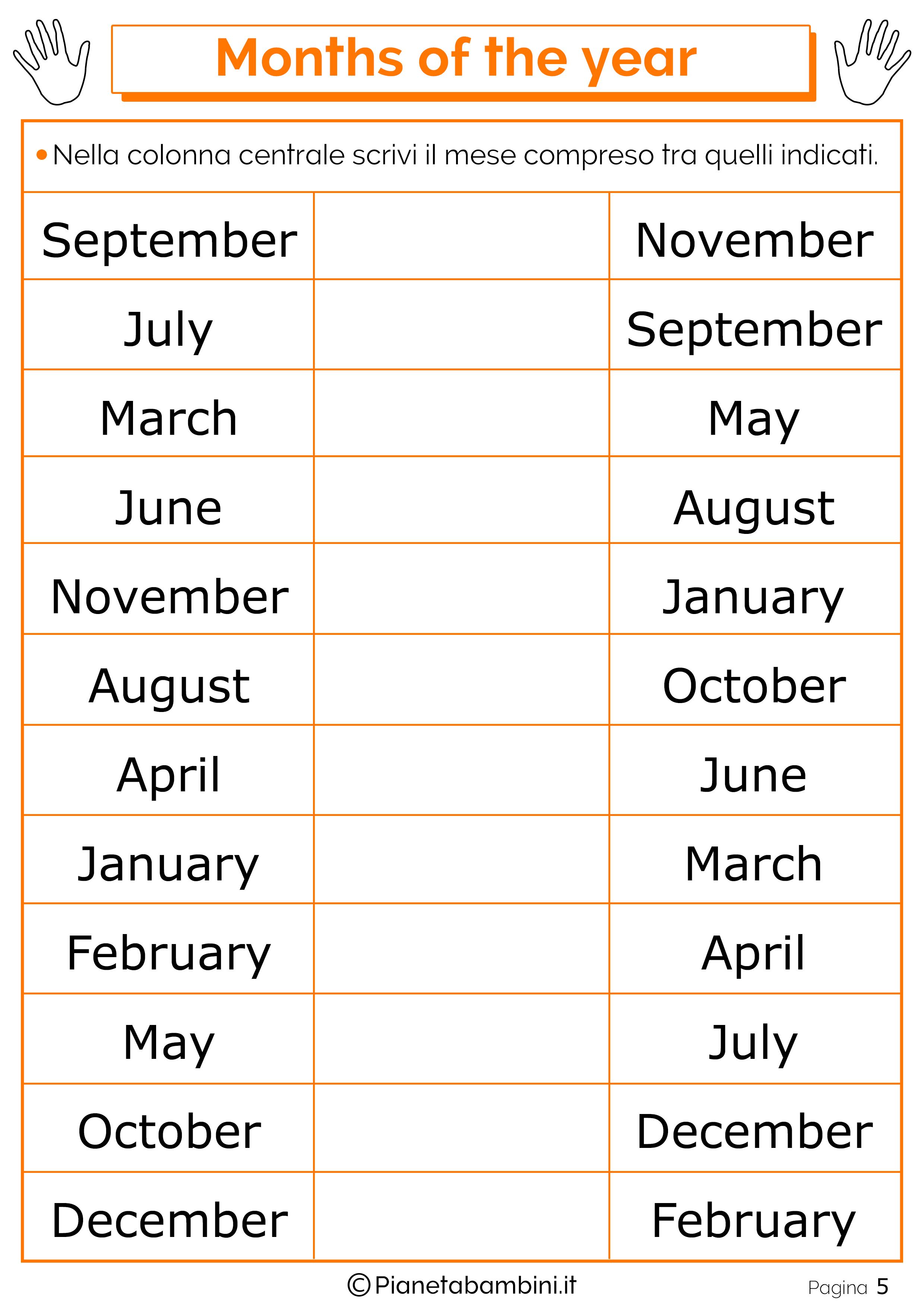 Esercizio sui mesi in inglese 05